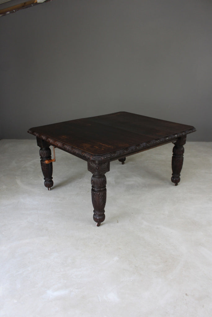 Victorian Carved Oak Extending Dining Table