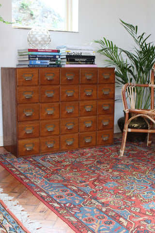 Early 20th Century Bank of Oak Drawers