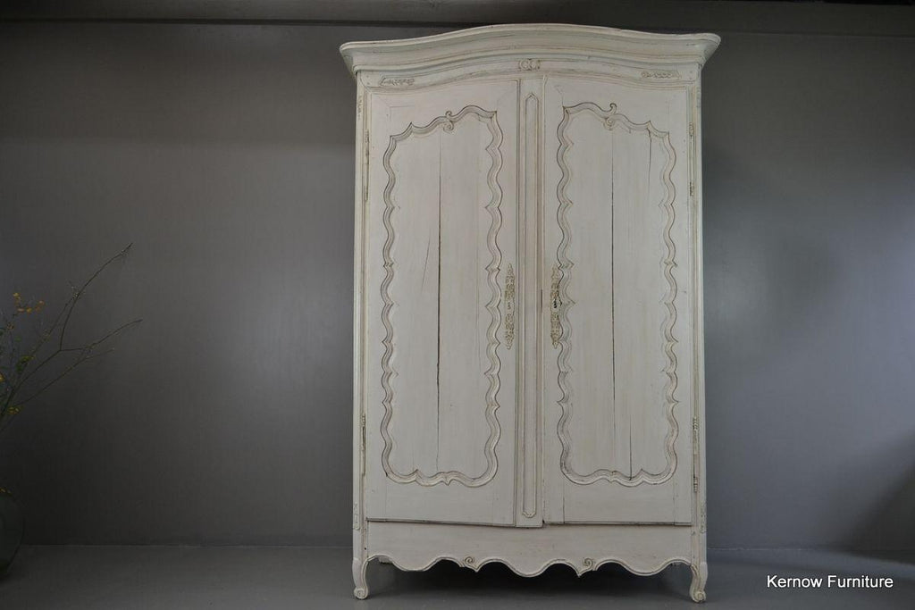 Large Antique French White Shabby Chic Armoire - Kernow Furniture
