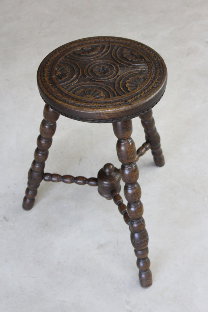 Antique Carved Oak Bobbin Turned Stool