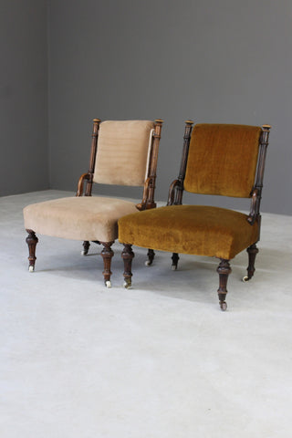 Pair Victorian Nursing Fireside Chairs