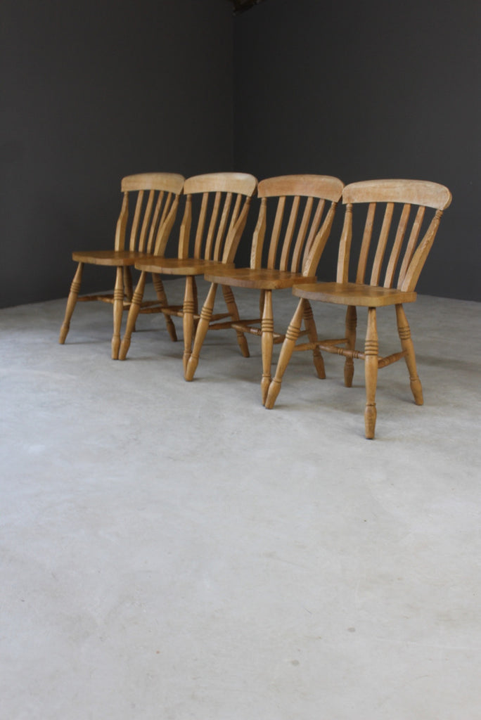 4 Rustic Farmhouse Beech Kitchen Chairs