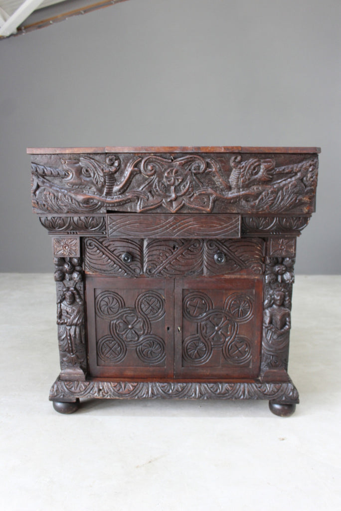 Oak Bureau Early 16th Century Carvings - Kernow Furniture