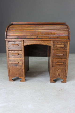 Early 20th Century Oak Tambour Desk - Kernow Furniture