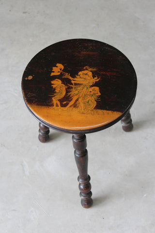 Small Flower Fairies Ebonised Stool