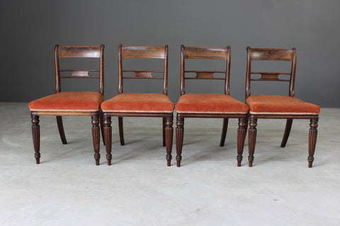 4 Antique Mahogany Bar Back Dining Chairs