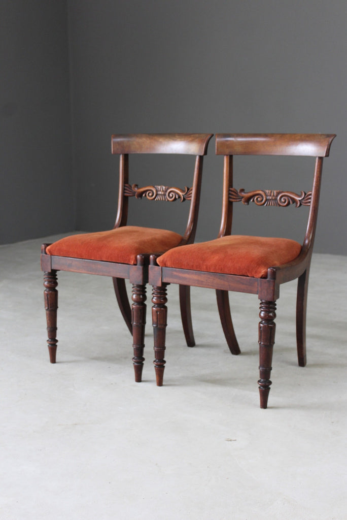 Pair Antique Mahogany Dining Chairs - Kernow Furniture