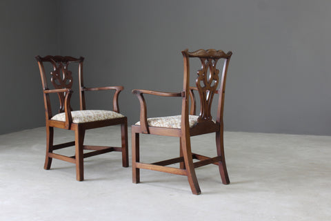 Pair Georgian Style Carver Chairs