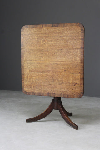 Antique Square Oak Tilt Top Breakfast Table
