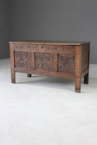 Antique Oak Carved Coffer