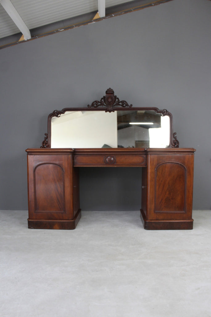 Antique Mahogany Twin Pedestal Sideboard - Kernow Furniture