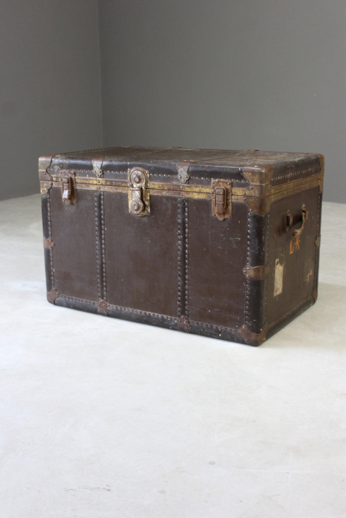 Large Everwear Antique Brown Leather Square Travel Trunk