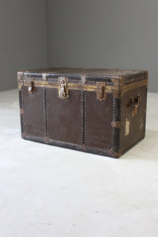 Large Everwear Antique Brown Leather Square Travel Trunk - Kernow Furniture