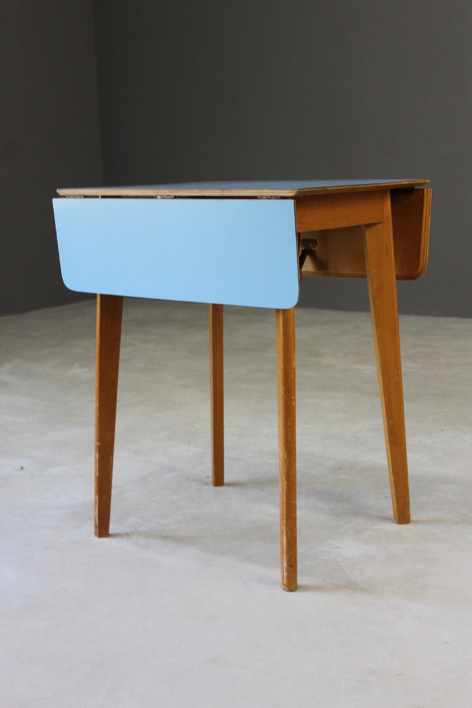 Retro Blue Formica Drop Leaf Kitchen Table