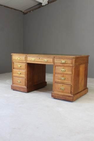 Antique Oak Twin Pedestal Desk - Kernow Furniture