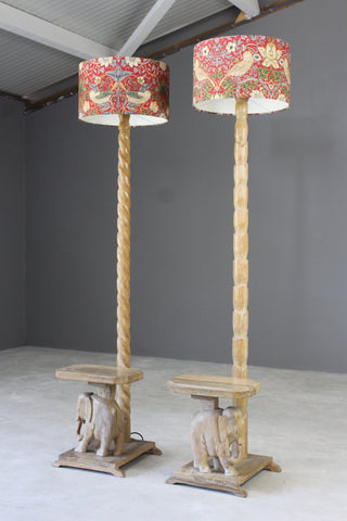 Pair Elephant Standard Lamps