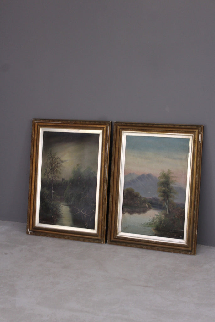 Pair Victorian Framed Landscape - Kernow Furniture