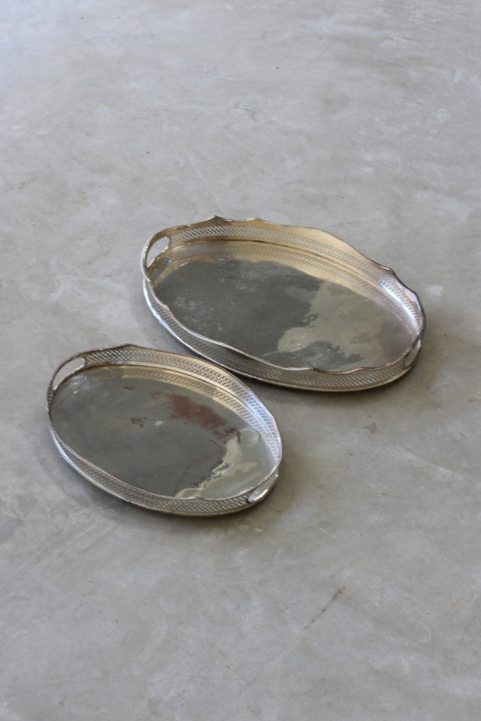 Pair Pierced Silver Plated Serving Trays - Kernow Furniture