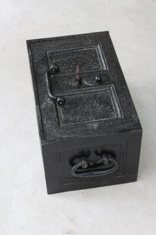 Antique Black Iron Strong Box Safe