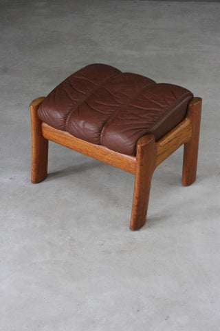 Retro Tan Leather Footstool