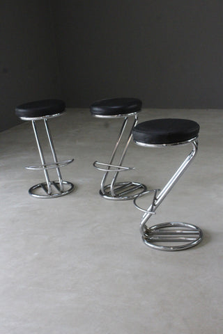 3 Deco Style Chrome & Leather Bar Stools