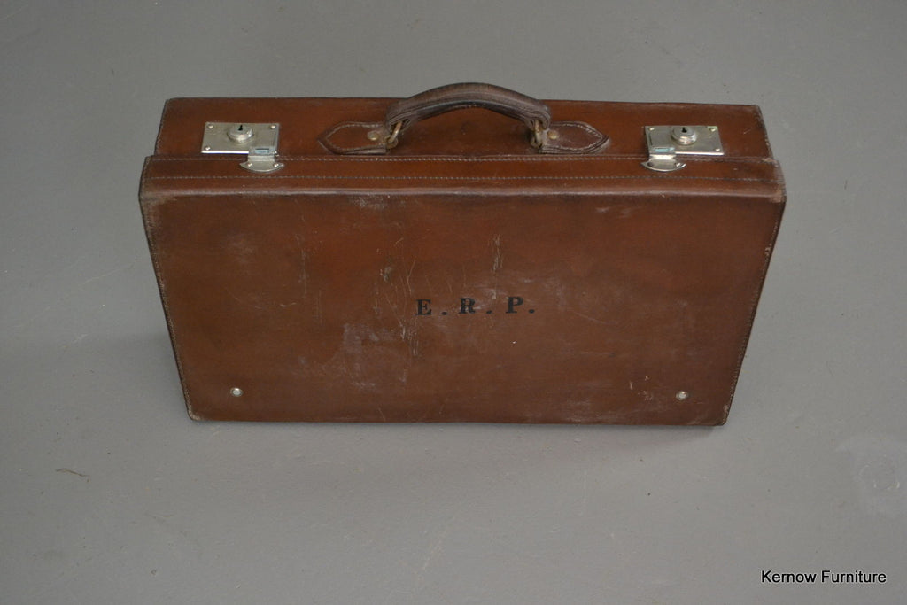 Antique Brown Leather Suitcase & Cover - Kernow Furniture