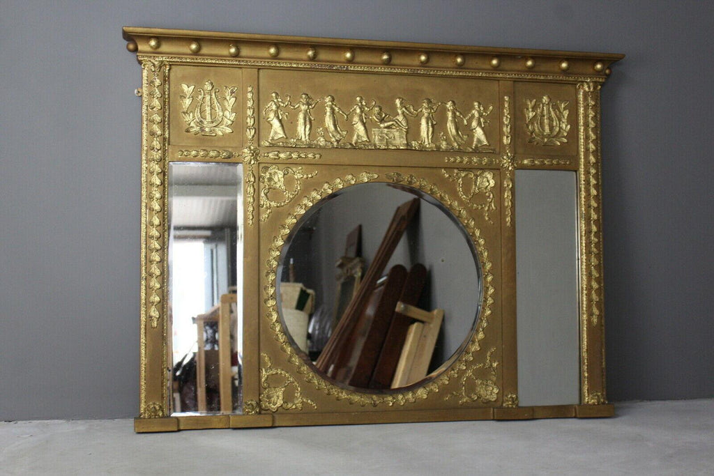 Regency Style Neoclassical Gilt Over Mantle Mirror - Kernow Furniture