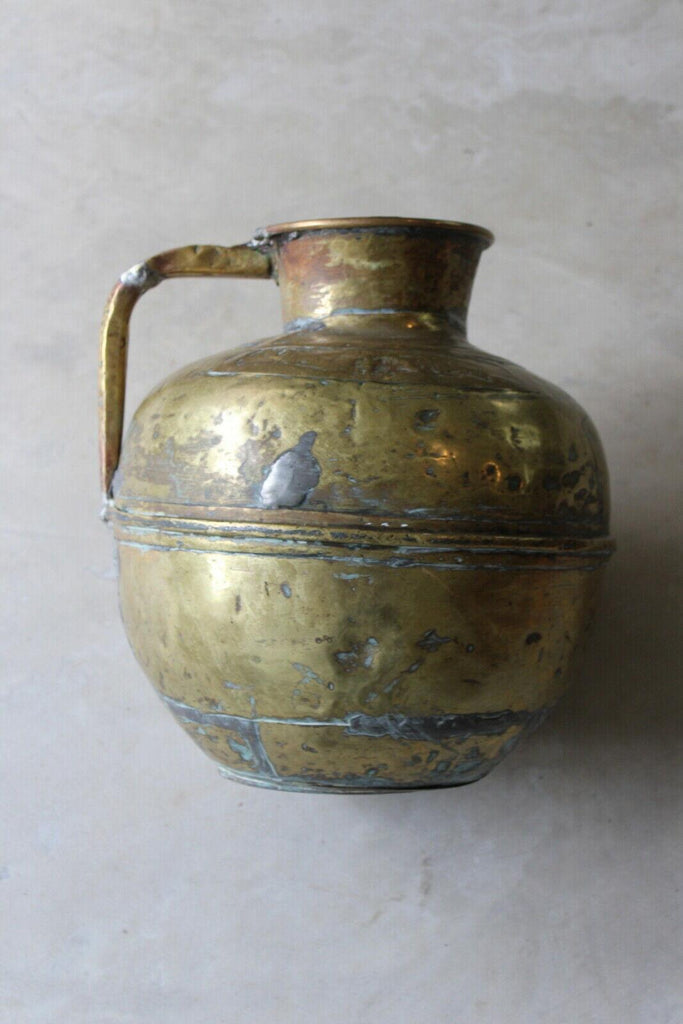 Large Rustic Eastern Brass Jug - Kernow Furniture