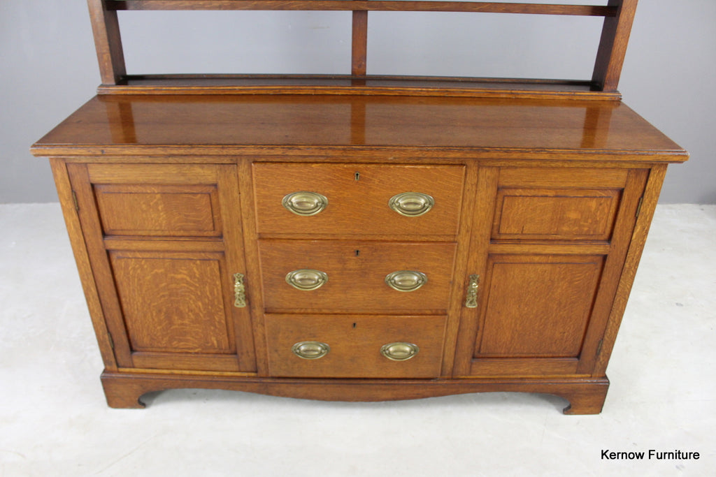 Large Antique Golden Oak Farmhouse Open Dresser - Kernow Furniture