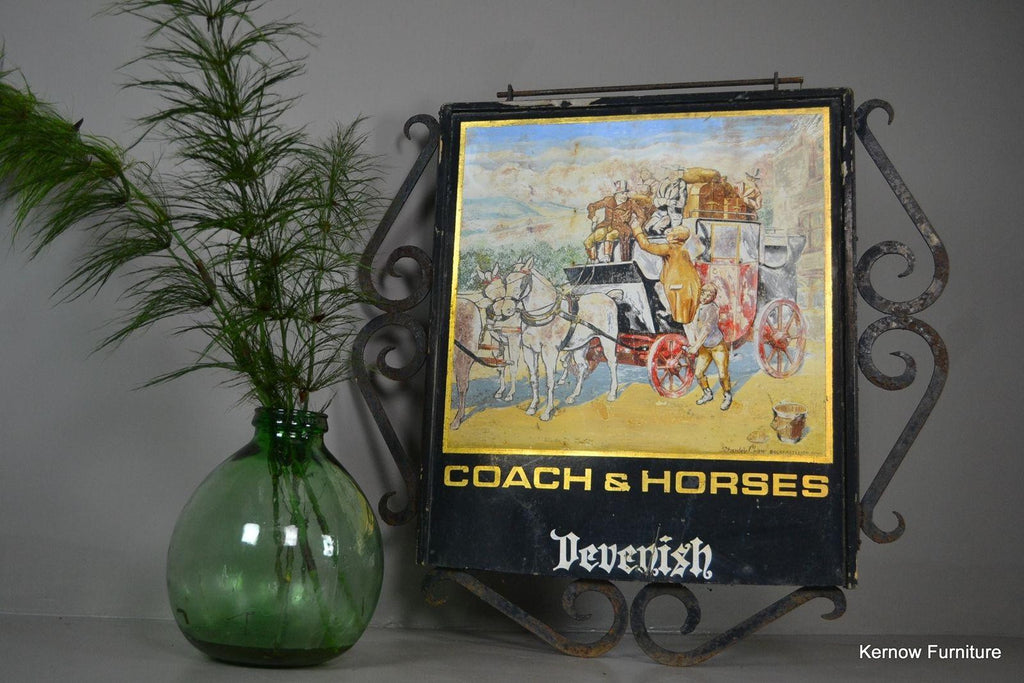 Vintage Exterior Hand Painted Coach & Horses Pub Swing Sign - Kernow Furniture 100s vintage, retro & antique items in stock