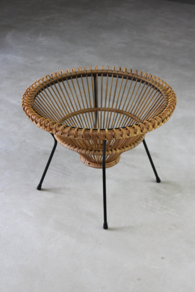 retro albini style coffee table glas and wicker