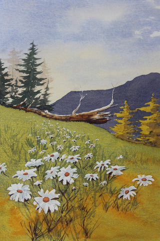 vintage alpine watercolour painting