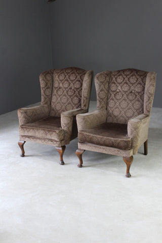 Pair Retro Parker Knoll Wing Back Armchairs