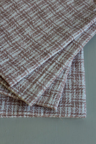 vintage pink check wool table mats
