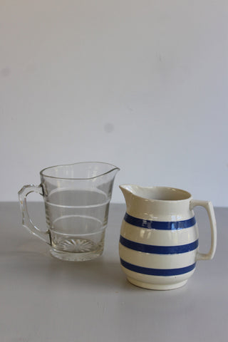 vintage kitchenware jugs chef ware blue and white stripey glass lemonade pitcher