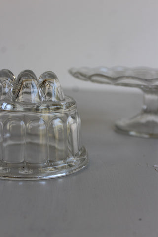 vintage glass cake stand and jelly mould kitchenalia