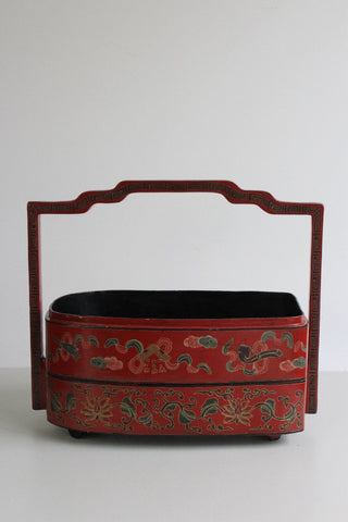 vintage oriental red lacquer stacking boxes storage