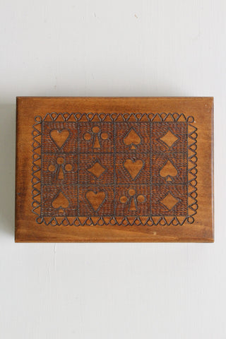 wooden playing cards box case