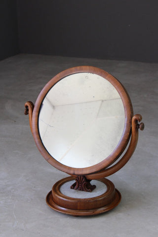 Marble & Mahogany Round Dressing Table Mirror - Kernow Furniture