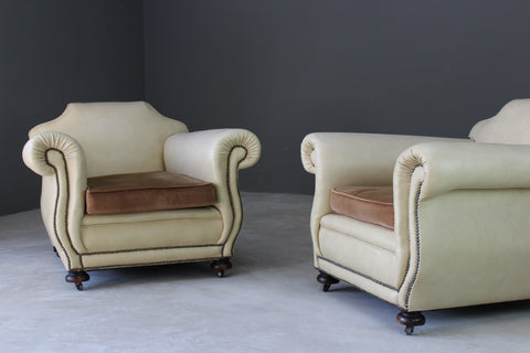 Pair Large Club Style Armchairs - Kernow Furniture