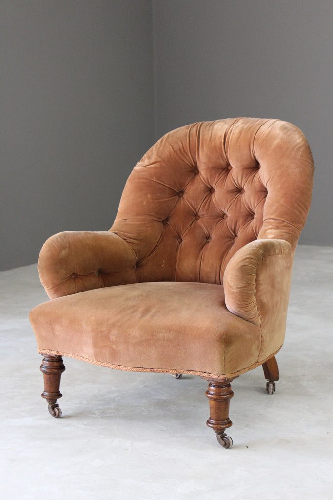 Victorian Button Back Armchair for Reupholstery - Kernow Furniture