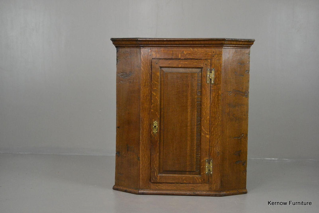 Antique Oak Wall Corner Cabinet - vintage retro and antique furniture
