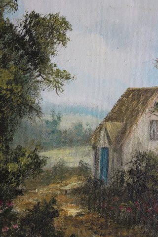 IXER COTTAGE SCENE OIL PAINTING