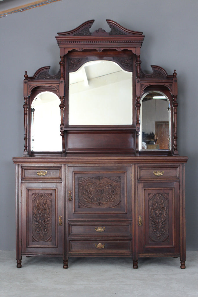 Antique Victorian Mahogany Mirror Back Sideboard - Kernow Furniture