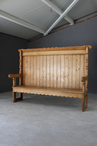 Antique Rustic Pine Settle - Kernow Furniture