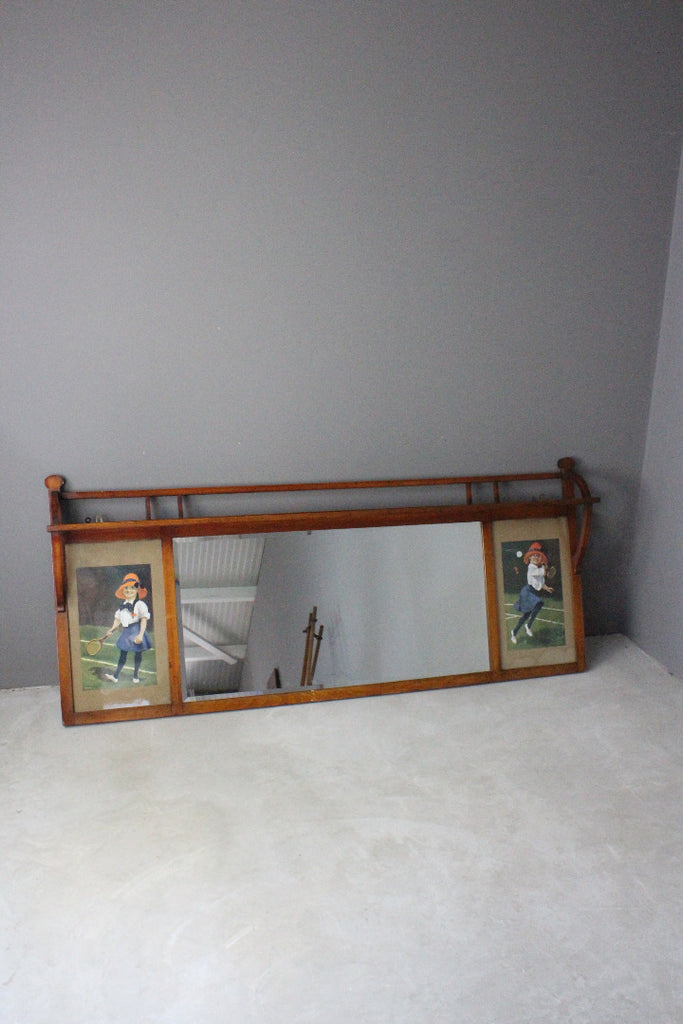 Large Early 20th Century Over Mantle Mirror - Kernow Furniture