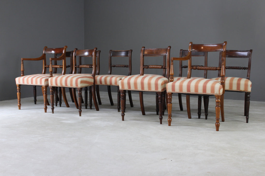 Large Set 10 Mahogany Dining Chairs - Kernow Furniture