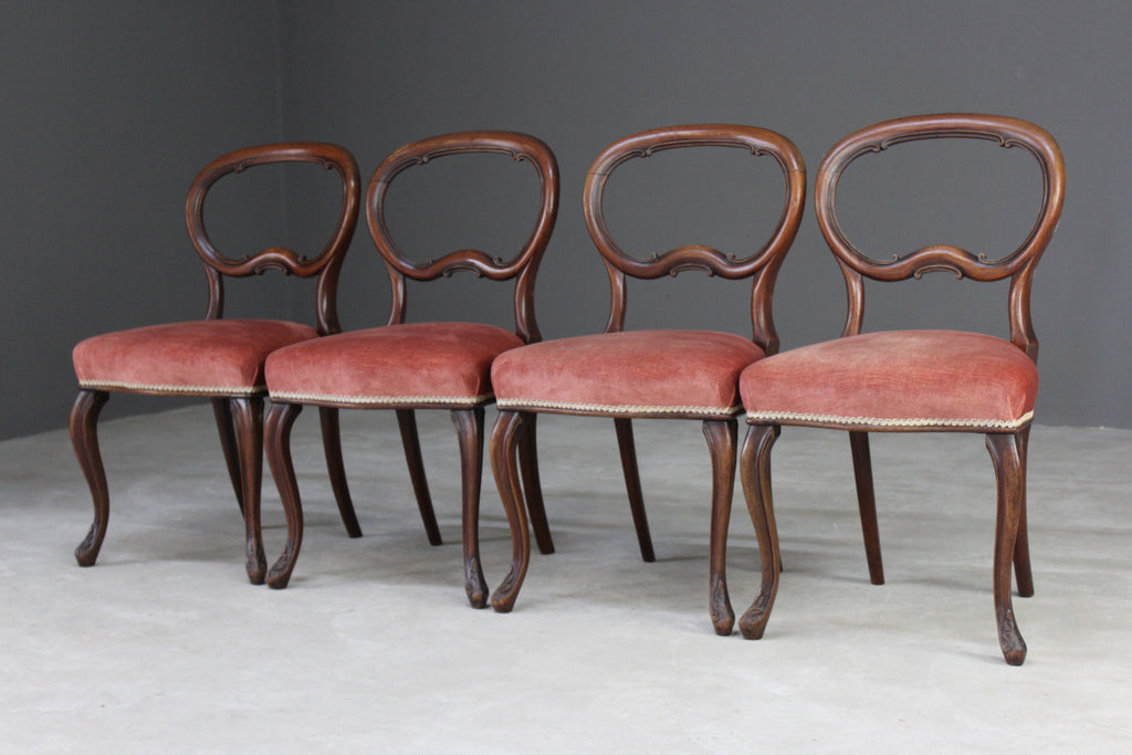 4 Victorian Mahogany Balloon Back Dining Chairs - Kernow Furniture