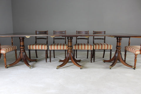 Large Triple Pedestal Regency Style Mahogany Dining Table - Kernow Furniture