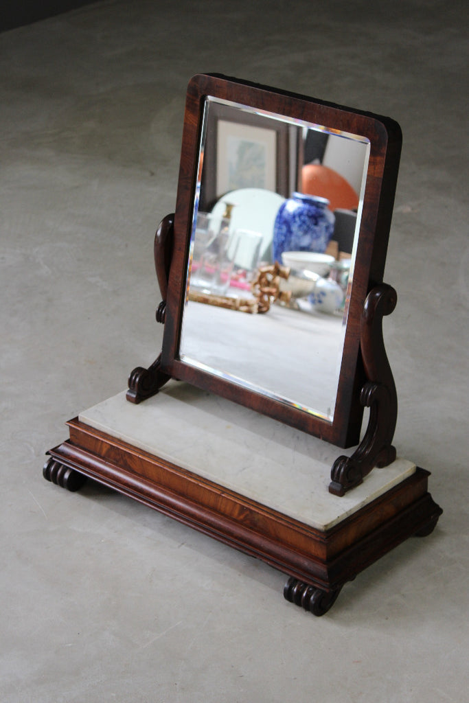 antique marble and mahogany toilet dressing mirror